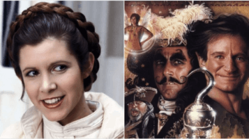 carrie fisher as princess leia (left) and hook 1991 poster (right)