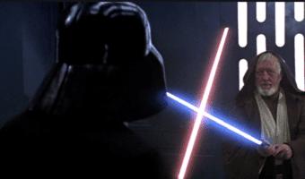darth vader and obi-wan kenobi lightsaber duel