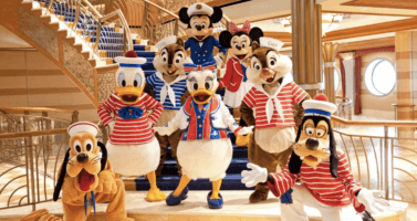 disney cruise line characters on staircase