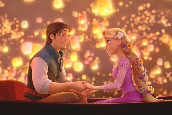flynn (left) and rapunzel (right) in gondola surrounded by floating lanterns