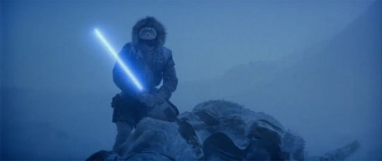 han solo holding lightsaber on hoth