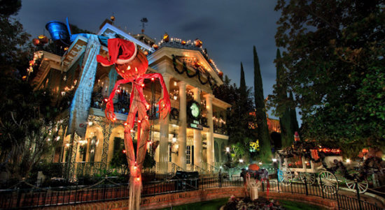 disneyland's haunted mansion does a holiday overlay months out of the year