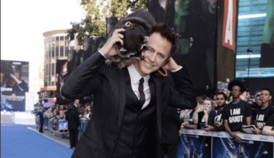 james gunn at guardians of the galaxy premiere with oreo the raccoon