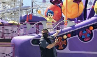 ken potrock with joy on pixar pier