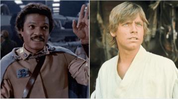 lando calrissian (left) and luke skywalker (right) original trilogy
