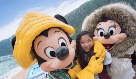mickey and minnie hugging little girl disney cruise line alaska