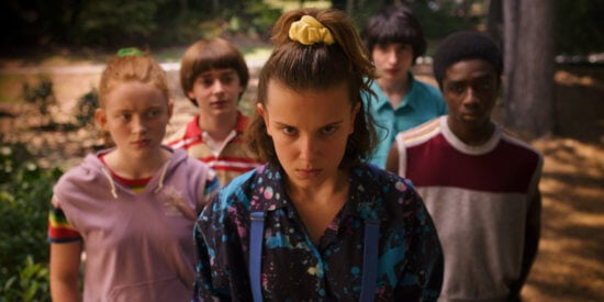 millie bobby brown and ensemble in stranger things