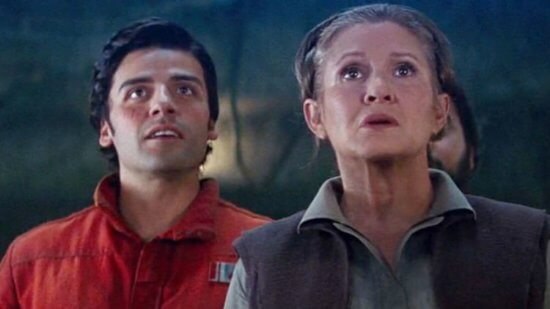 oscar isaac as poe dameron (left) and carrie fisher as leia organa (right) in star wars