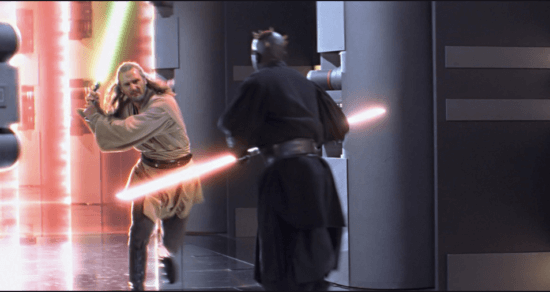 qui gon jinn (left) and darth maul (right) in a lightsaber duel