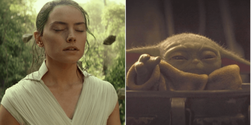 rey using the force (left) and grogu using the force (right)