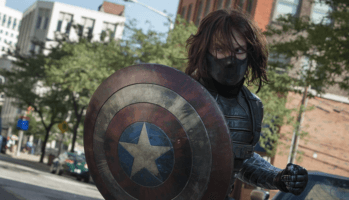 sebastian stan as winter soldier with captain america shield