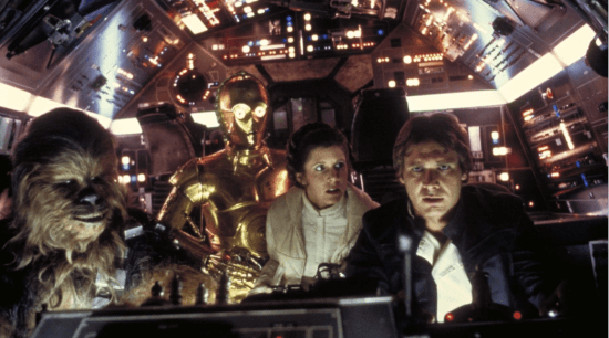 star wars millennium falcon cockpit with (left to right) chewbacca, c-3po, princess leia, and han solo