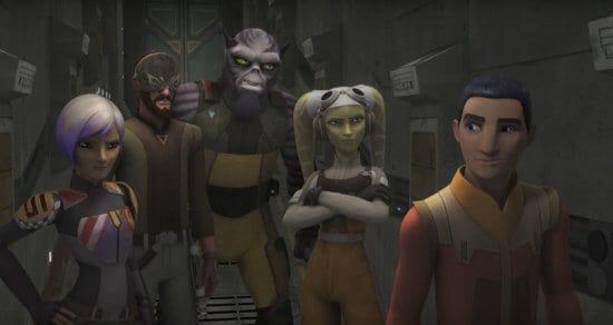 star wars rebels ghost crew in hallway