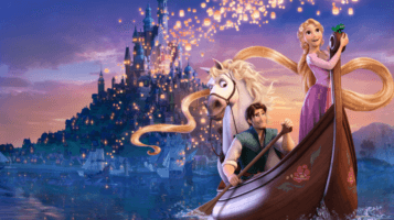 tangled flynn and rapunzel in gondola with corona and floating lanterns in background