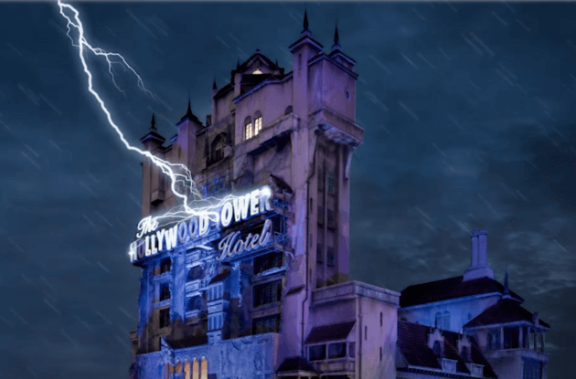 tower of terror getting struck by lightning
