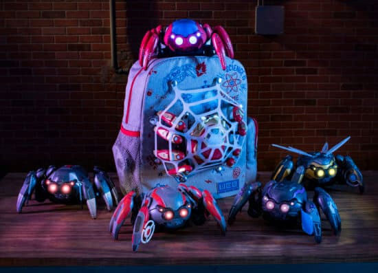 Guests visiting Avengers Campus at Disney California Adventure Park, opening June 4, 2021, will find the latest Super Hero gadgets at the WEB Suppliers store. Pictured here, interactive Spider-Bots, much like the ones seen throughout Avengers Campus, are powered by a remote control with eight articulated legs that move forward and backward. Guests may customize their Spider-Bot with tactical upgrades to harness the powers and style of some of their favorite Super Heroes. (David Roark/Disneyland Resort)