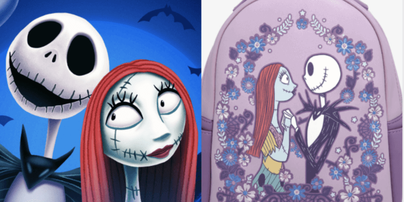 jack and sally (left) jack and sally loungefly backpack (right)