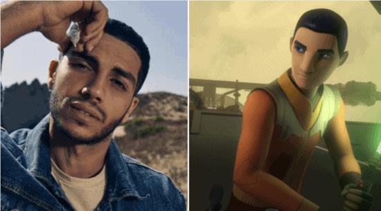mena massoud headshot (right) and ezra bridger in star wars rebels (left)