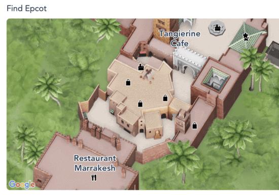 morocco pavilion Disney icon photo spot epcot map