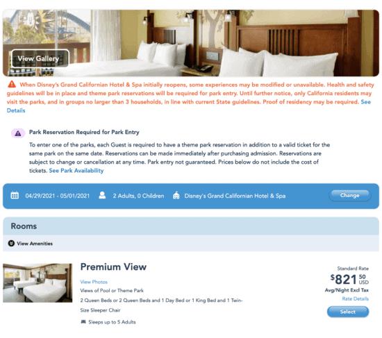 Grand Californian Room Price