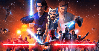 clone wars official image featuring anakin, obi-wan, ahsoka