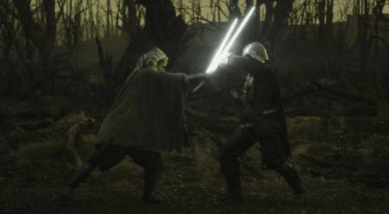 ahsoka tano and din djarin lightsaber battle