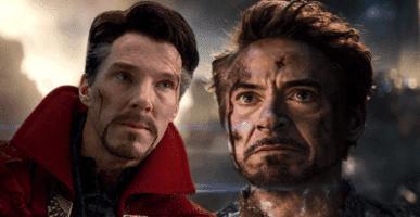 benedict cumberbatch as doctor strange and robert downing jr as tony stark akairon man