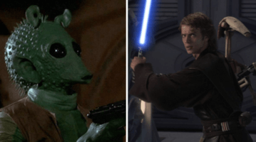 greedo with blaster (left) and anakin skywalker with lightsaber (right)