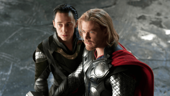 Tom Hiddleston as Loki (left) and Chris Hemsworth as Thor (Right) in Thor