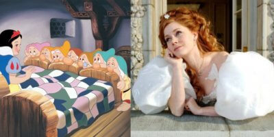 snow white and the seven dwarfs (left) and disenchanted (right)