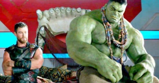 chris hemsworth (left) as thor and mark ruffalo (right) as bruce banner aka the incredible hulk in marvel thor raganarok