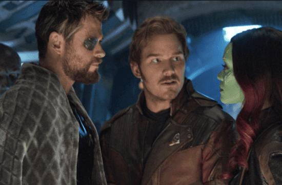 chris hemsworth as thor (left) chris pratt as peter quill aka star lord (center) and zoe saldona as gamora (right) in avengers infinity war