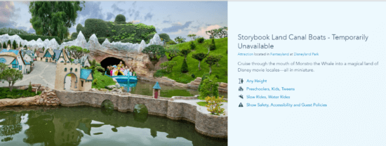 Storybook Land Canal Boats in Disneyland temporarily closed
