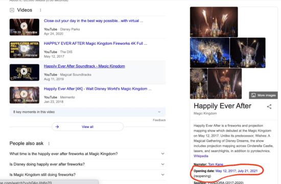 Google Happily Ever After Fireworks Return screenshot