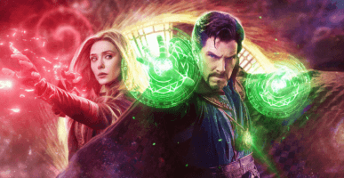 elizabeth olsen as wanda maximoff aka scarlet witch (right) and benedict cumberbatch as doctor strange (right)
