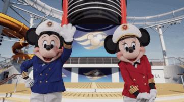 mickey and minnie on disney wish deck