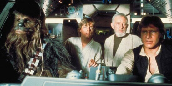 alec guinness with mark hamill and harrison ford in star wars