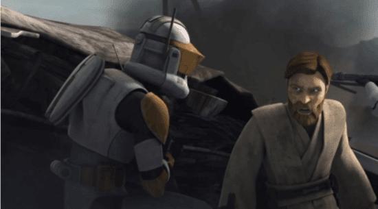 commander cody (left) and obi-wan kenobi (right) in clone wars