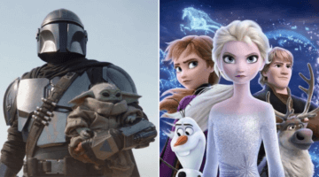 the mandalorian (left) and frozen II characters (right)