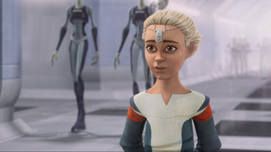 """Omega in a scene from """"STAR WARS: THE BAD BATCH"""", exclusively on Disney+. © 2021 Lucasfilm Ltd. & ™. All Rights Reserved."""