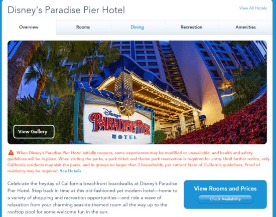 disneys paradise pier hotel reservations