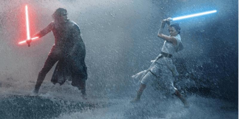 rey and kylo lightsaber battle
