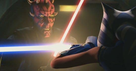 star wars the clone ahsoka maul lightsaber battle