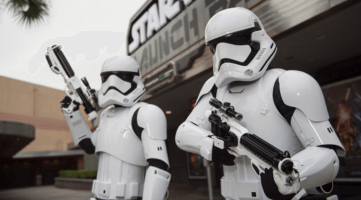 stormtroopers at star wars launch bay