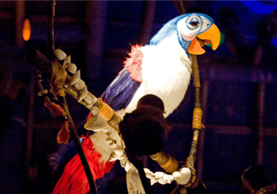 tiki birds inside the tiki room