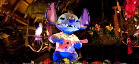the enchanted tiki room in tokyo featuring stitch