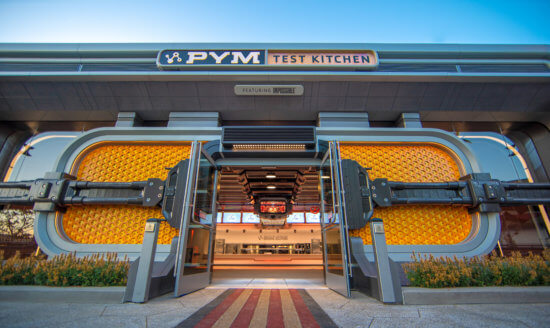At Pym Test Kitchen featuring Impossible Foods in Avengers Campus at Disney California Adventure Park, Ant-Man and The Wasp lead a team of food scientists as they pioneer a menu packed with inventive-sized entrees, tiny treats and shareable bites that provide the perfect Òpower upÓ for any hungry recruit. Here, the researchers are Òshrinking problems and growing solutions,Ó and guests become a part of the Pym Technology experience as soon as they step into Pym Test Kitchen. (Christian Thompson/Disneyland Resort)