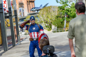 Captain America at Avengers Campus