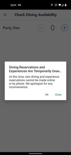 my disney experience dining reservation system