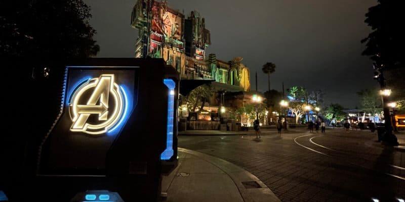 Avengers campus at night disney California adventure